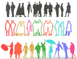 Sets of silhouette and colorful people in 3D