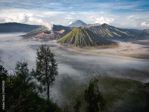 Gunung Bromo, Mount Batok and Gunung Semeru in Java, Indonesia