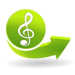 clef de sol sur symbole vert