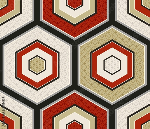 seamless japanese hexagon crest pattern