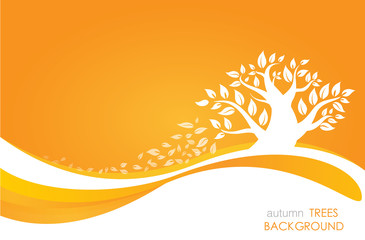 Silhouette of a tree with leaves on orange background