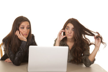 Two women computer frustration