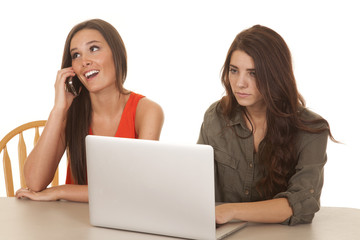 Two women computer one phone happy