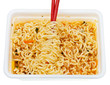 eating of instant ramen from lunch box