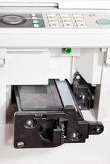 inserting of toner cartridge in office copier