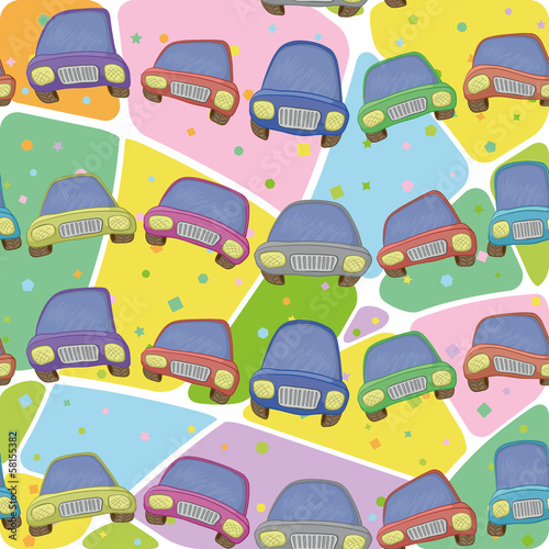Cars and abstract pattern, seamless