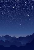 Fototapety 山と星空