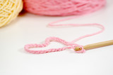 wooden crochet hook with heart shape thread