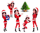 Santa girl in various action