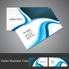 Business card template set blue wave design vector