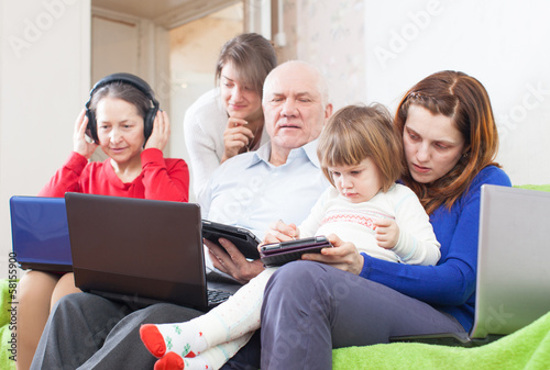 Family uses  various portable computers