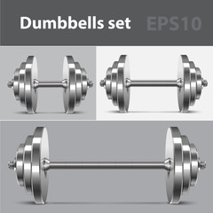 Dumbbells set. Vector illustration