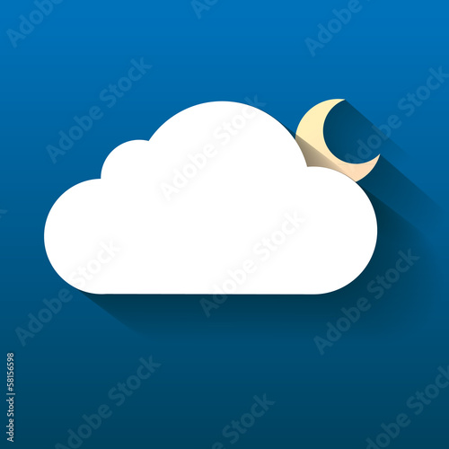 Night cloud and moon isolated on dark