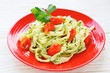 tagliatelle pasta with roasted cherry tomatoes