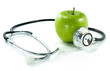 protect your health with healthy nutrition.Stethoscope, apple - 58156984