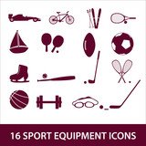 sport equipment icon set eps10