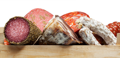 Assortment of cold meats, variety sausages