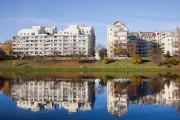 Lakeside Modern Apartment Buildings in Warsaw