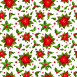 Christmas seamless background with poinsettia and holly.
