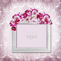Vintage elegance background with frame and flowers