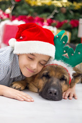 boy and dog in Christmas night