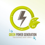 Green power badge for renewable energy sources
