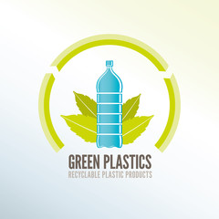 Green recycling badge for ecologic plastic products