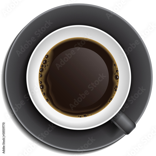 Black cup with coffee on saucer