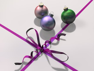Christmas bauble decorations with ribbon and bow