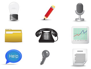 Office and business miscellaneous icon set (vector)