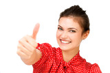 Happy woman showing thumbs up