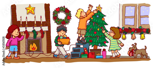 Kids decorating the room to celebrate Christmas (vector)