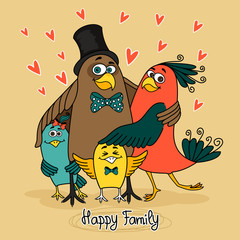 birds happy family