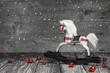 Altes Holzpferd - Dekoration - Weihnachtskarte shabby chic