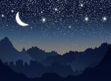 山と星空と月