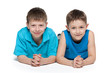 Young boys together on the white background