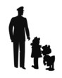 policeman talking to 2 kids in silhouette