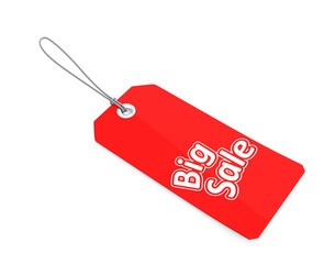 Red tag print with big sale text. clipping path included