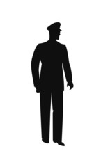 policeman standing alone in silhouette