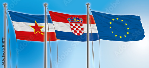 yugoslavia, croatia, europa union flags