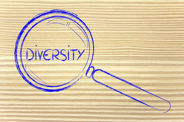 focusing on diversity and collaboration, magnifying glass design