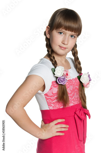 Young girl on the white background