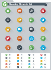 Flat shopping icon set