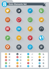 Flat statistic elements icon set