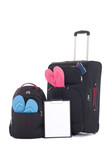 travel suitcase and backpack with clothing, checklist isolated o