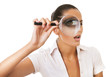 business woman with magnifying glass on eye