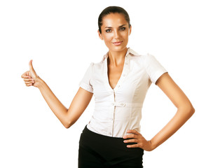 business woman showing ok gesture