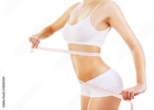 woman with measure on sporty body