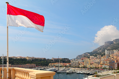 Monaco flag and Monte Carlo skuline.