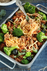 pasta with broccoli,meat and tomato